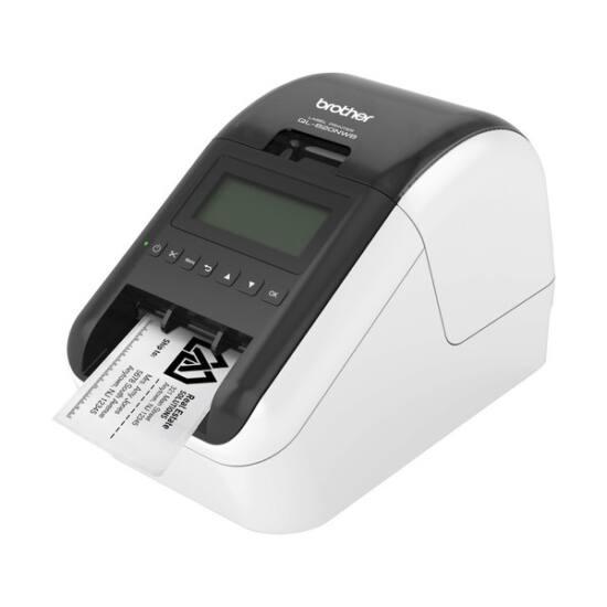 BROTHER Címkenyomtató QL-820NWB, asztali, thermál, 2 színű nyomtatás, WiFi/Bluetooth/USB, 148 mm/mp, 300dpi, DK címke