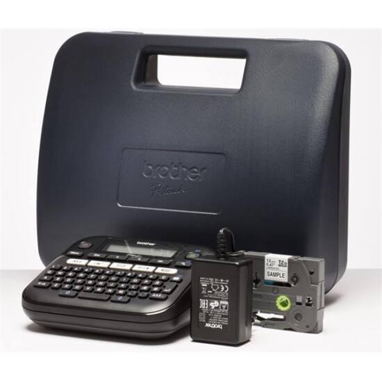 BROTHER Címkenyomtató PT-D210VP, asztali, QWERTY billentyűzet, TZ tapes 3,5-12 mm, grafikus kijelző, hordtáska