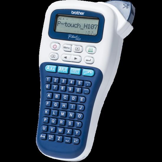 BROTHER Címkenyomtató PT-H107, kézi, thermál, 20mm/mp, ABC billenytűzet, TZe szalag 3,5-12mm