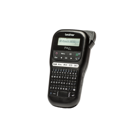 BROTHER Címkenyomtató PT-H110, kézi, PC kiosztású billentyűzet, TZ tapes 3,5-12mm, cserélhető pengével