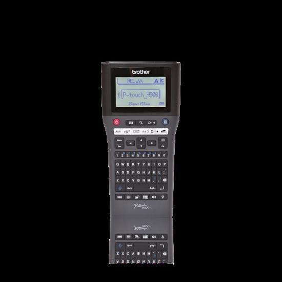 BROTHER Címkenyomtató PT-H500, kézi, QWERTY billentyűzet, TZe szalag: 3,5-24mm, 30mm/sec, háttér világítású grafikus LCD