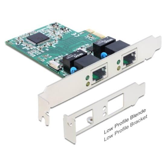 DELOCK PCI-E Vezetékes hálózati Adapter, 2x Gigabit LAN